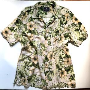 CARIBBEAN JOE L button down tropical print shirt